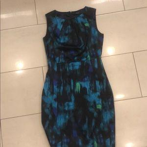 Tahiri blue green watercolor dress size 4